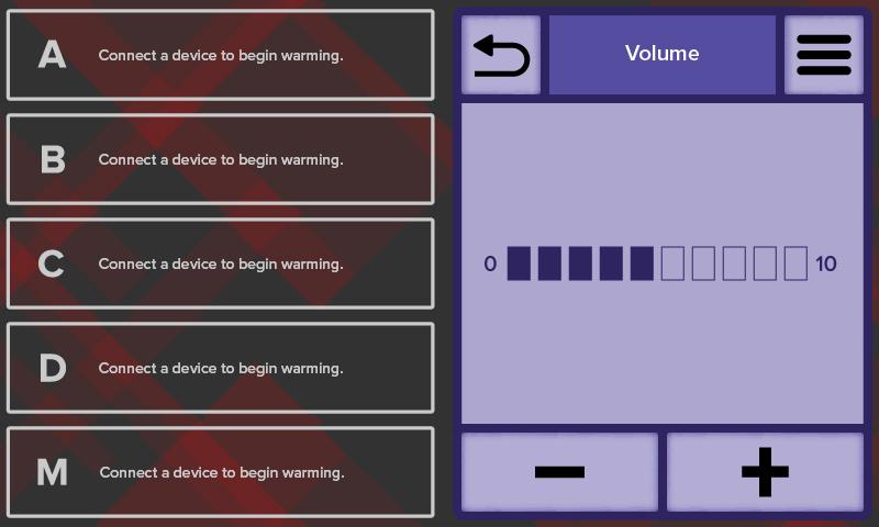 WC77 Touchscreen Volume Settings Screenshot