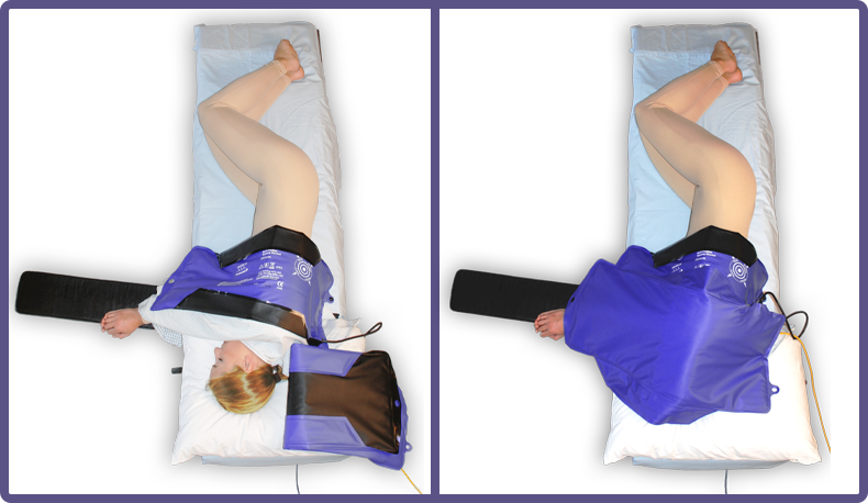 HotDog Patient Warming multipositional blanket on patient step 1 and step 2 for lateral