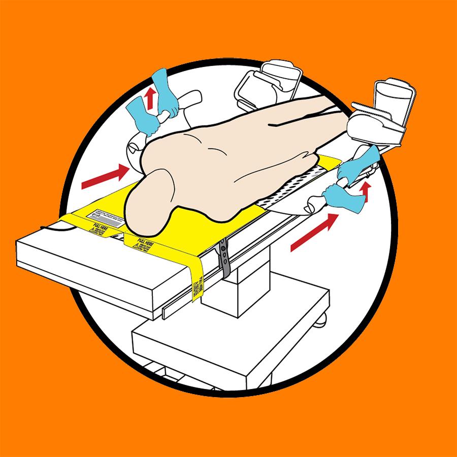 WaffleGrip Trendelenburg Positioning System and BackSaver Slide Sheet Step 5