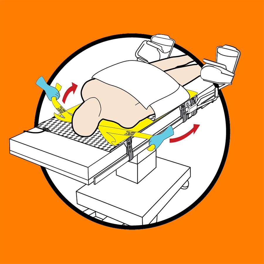 WaffleGrip Trendelenburg Positioning System and BackSaver Slide Sheet Step 6